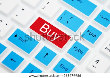Buy button on computer keyboard. Internet marketing, e-commerce concept