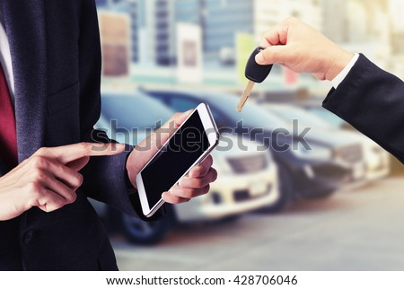 buy car on smart phone concept background - stock photo