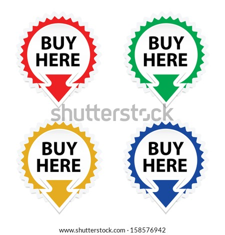 Buy Here button, icon, sticker or symbols on white background - jpeg format. - stock photo