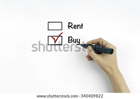 Buy not rent concept on a white background