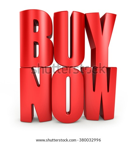 Buy now 3d text in red letters isolated over white background - stock photo