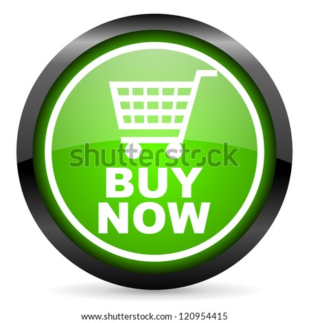 buy now green glossy icon on white background