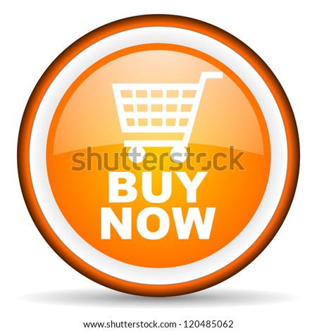 buy now orange glossy circle icon on white background - stock photo