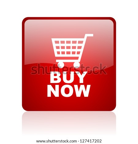buy now red square glossy web icon on white background - stock photo