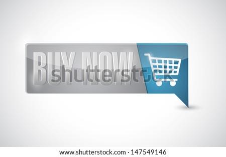buy now shopping cart button pointer. illustration design over white - stock photo