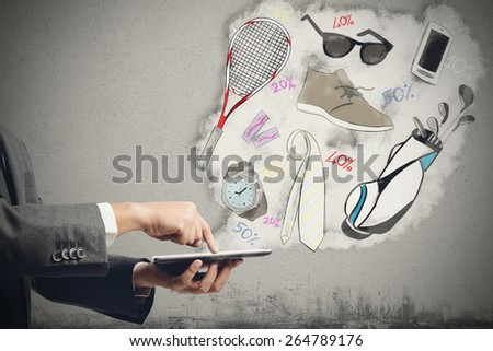Buy on the internet with shopping online - stock photo