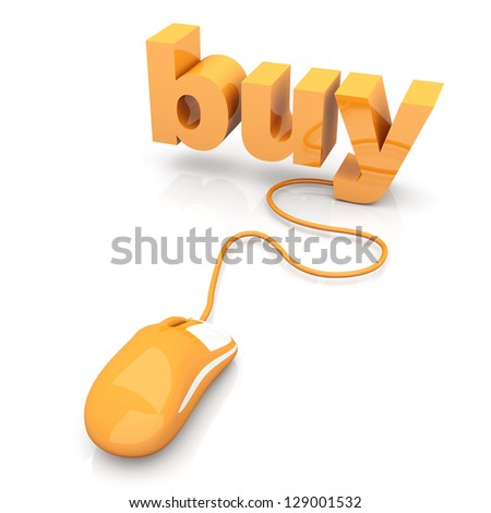 Buy online. 3D rendered Illustration. Isolated on white. - stock photo