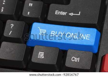 Buy online word on blue and black keyboard button