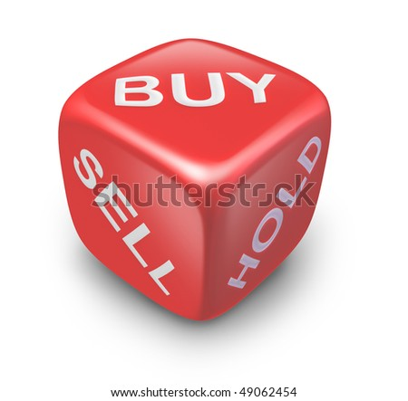 buy sell hold investing dice isolated on white