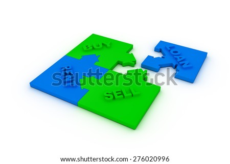 Buy,sell, loan  or rent concept puzzle - stock photo
