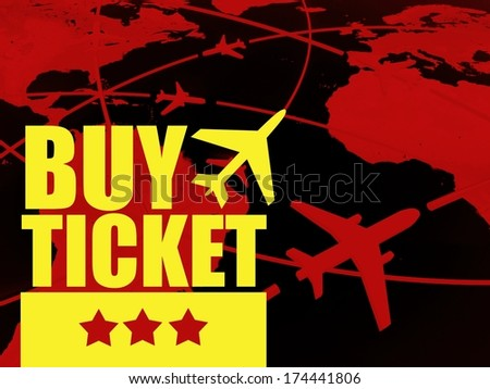 Buy ticket travel concept, airlines on world map - stock photo