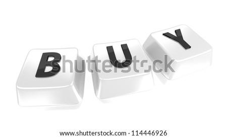 BUY written in black on white computer keys. 3d illustration. Isolated background. - stock photo
