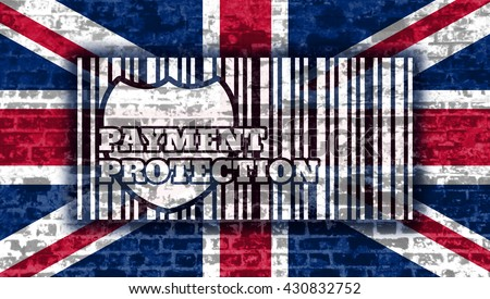Buyer protection. Internet payments security. Text and shield. Britain flag on brick wall