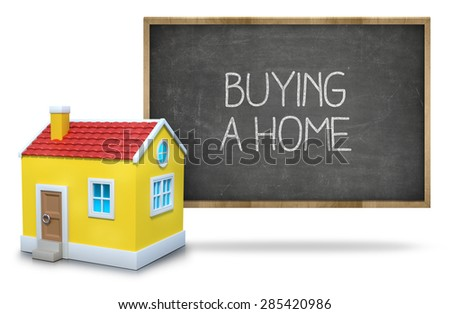 Buying a home on black Blackboard with 3d house - stock photo