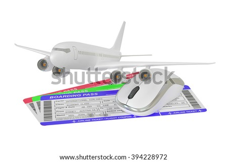 Buying air tickets online concept - stock photo