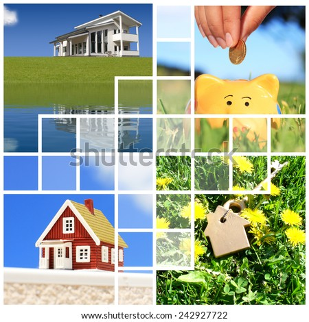 Buying home collage - stock photo