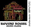 Buying home issues info-text (cloud word) composed in the shape of a house on black background - stock