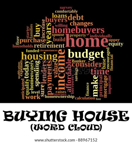Buying home issues info-text (cloud word) composed in the shape of a house on black background - stock photo