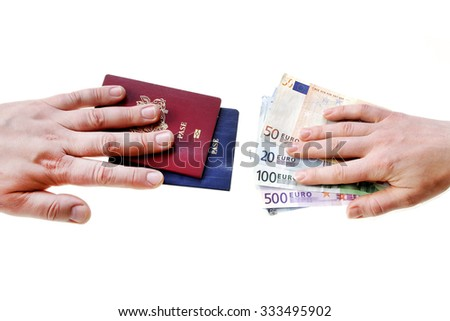 buying illegal foreign passport hands exchanging money and documents buyer seller isolated on white