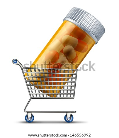Buying medicine from a pharmacy or online retailer medication concept as a shopping cart carrying a prescription pill bottle as a symbol of the pharmaceutical industry and drug insurance market. - stock photo