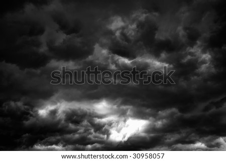BW Storm Clouds - stock photo