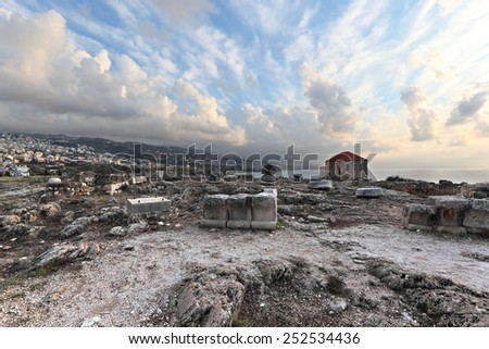 Byblos Archaeological Site at Sunset  - stock photo