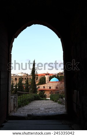 Byblos from the Crusader Castle - stock photo