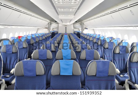 BYDGOSZCZ, POLAND - AUGUST 4: Interior of the New Boeing 787 Dreamliner during a training flight from Bydgoszcz to Wroclaw on August 4, 2013 in Western Poland. - stock photo
