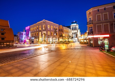 BYDGOSZCZ, POLAND - AUGUST 1, 2017: Old Market Square in the Old Town at night. Budgoszcz. Poland