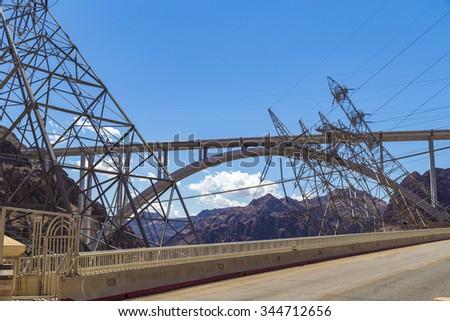 Bypass bridge near Hoover Dam, USA - stock photo