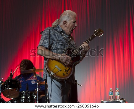 BYRON BAY, AUSTRALIA - APRIL 4 : John Mayall plays guitar on the Crossroads stage at the 2015 Byron Bay Bluesfest. 26th annual Blues and Roots festival. - stock photo