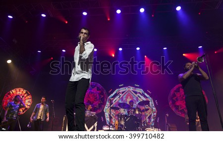 BYRON BAY, AUSTRALIA - MARCH 27 :The Cat Empire plays on the Mojo stage at the 2016 Byron Bay Bluesfest. 27th annual Blues and Roots festival. - stock photo