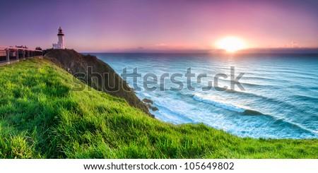 byron bay lighthouse during sunrise - stock photo