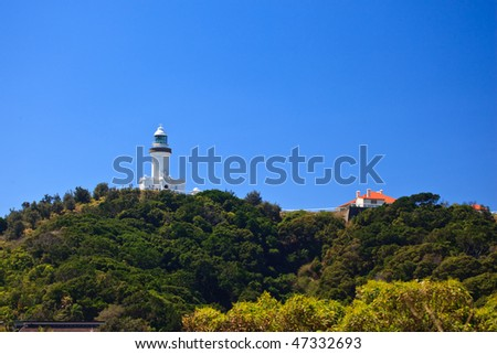 Byron Bay Lighthouse Viewed From Park Entrance - stock photo