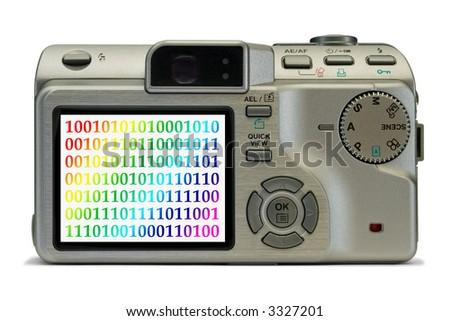 Bytes on display of digital camera, isolated on white background