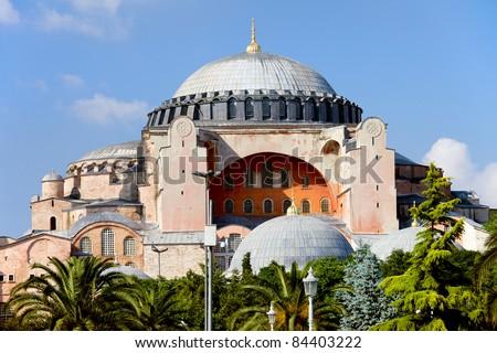 Byzantine architecture of the Hagia Sophia ( The Church of the Holy Wisdom or Ayasofya in Turkish ), famous historic landmark and world wonder in Istanbul, Turkey - stock photo