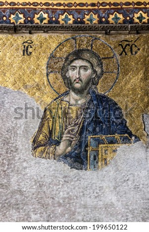 Byzantine icon of Jesus Christ in Cathedral Hagia Sofia in Istanbul, Turkey - stock photo