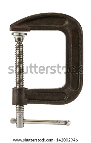 C clamp isolated on a white background. - stock photo