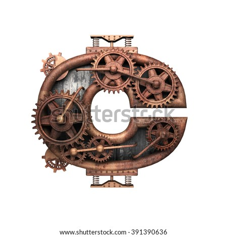 c isolated rusted letter with gears on white