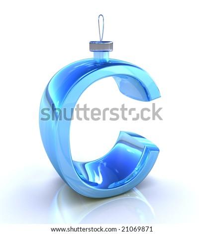 C letter on white background like Christmas toy - stock photo