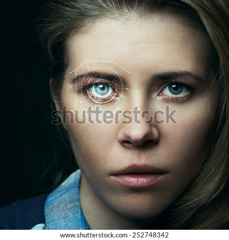 C�¡lose-up portrait of man's face - stock photo