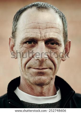 C�¡lose-up portrait of man's face - stock photo