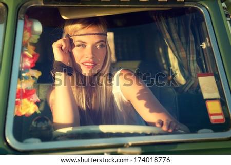 c'mon baby drive my car - stock photo