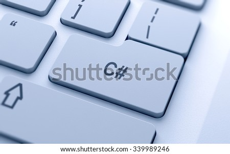 C sharp word button on computer keyboard with soft focus - stock photo