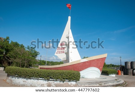 CA MAU, VIET NAM, July 2, 2016 model ships, fishermen, sea Ca Mau, Vietnam. National southernmost point of Vietnam