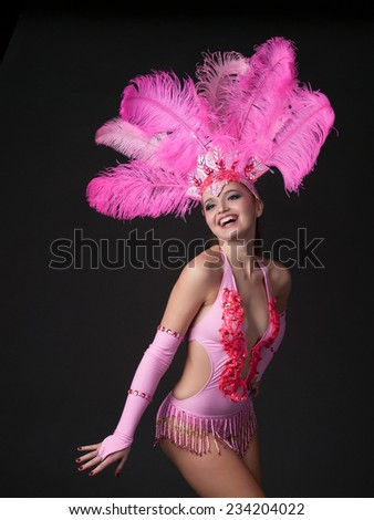 Cabaret dancer wearing a colorful stage costume