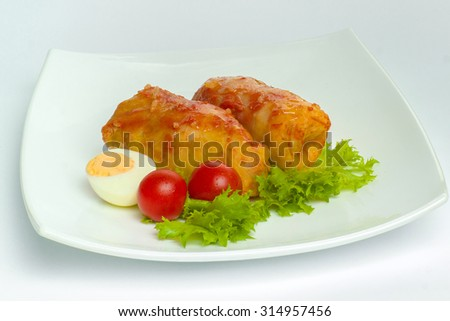 Cabbage roll on a white plate - stock photo