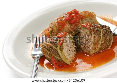 cabbage roll , stuffed cabbage with tomato sauce - stock photo