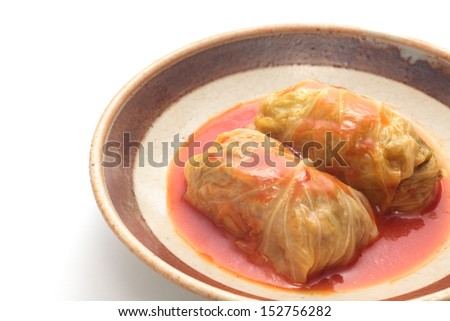 Cabbage roll with tomato sauce  - stock photo