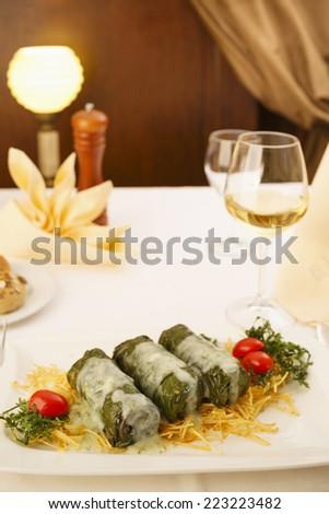 Cabbage rolls in fine dine restaurant/Elegant lunch in restaurant/Cabbage rolls in restaurant - stock photo